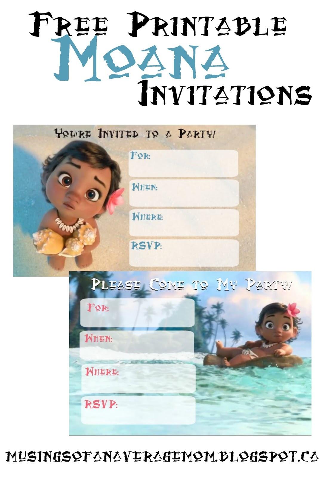 Musings Of An Average Mom: Free Printable Moana Invitations - Free Printable Moana Invitations