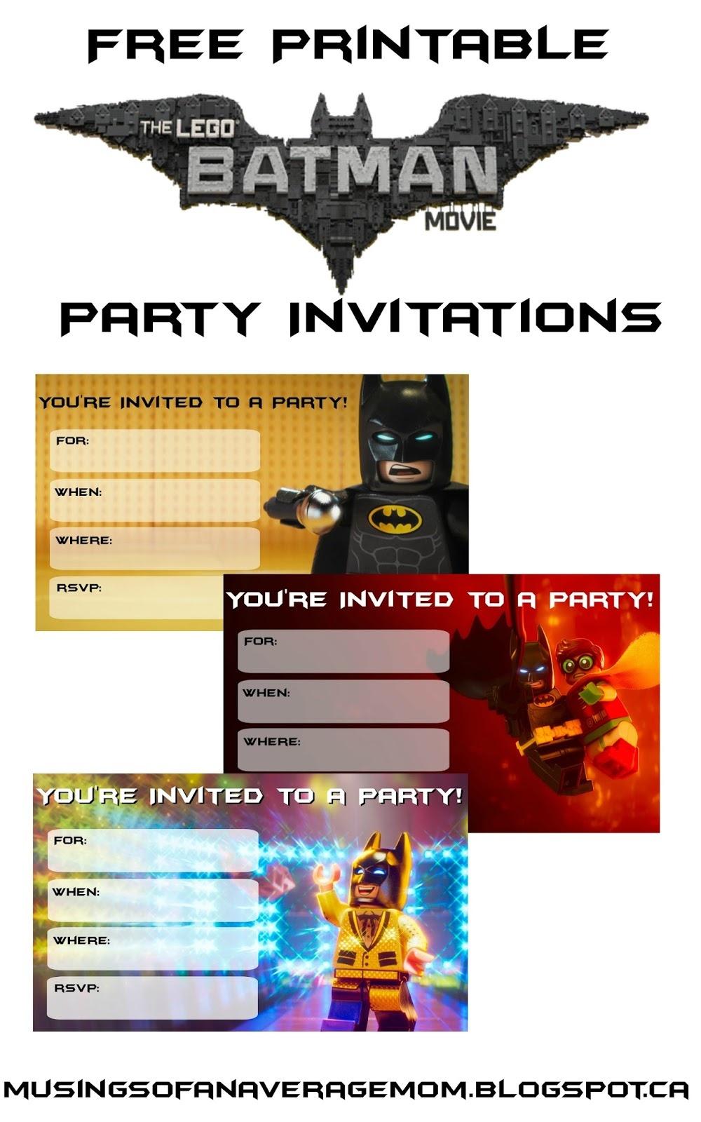 Musings Of An Average Mom: Lego Batman Movie Party Invitations - Lego Batman Party Invitations Free Printable