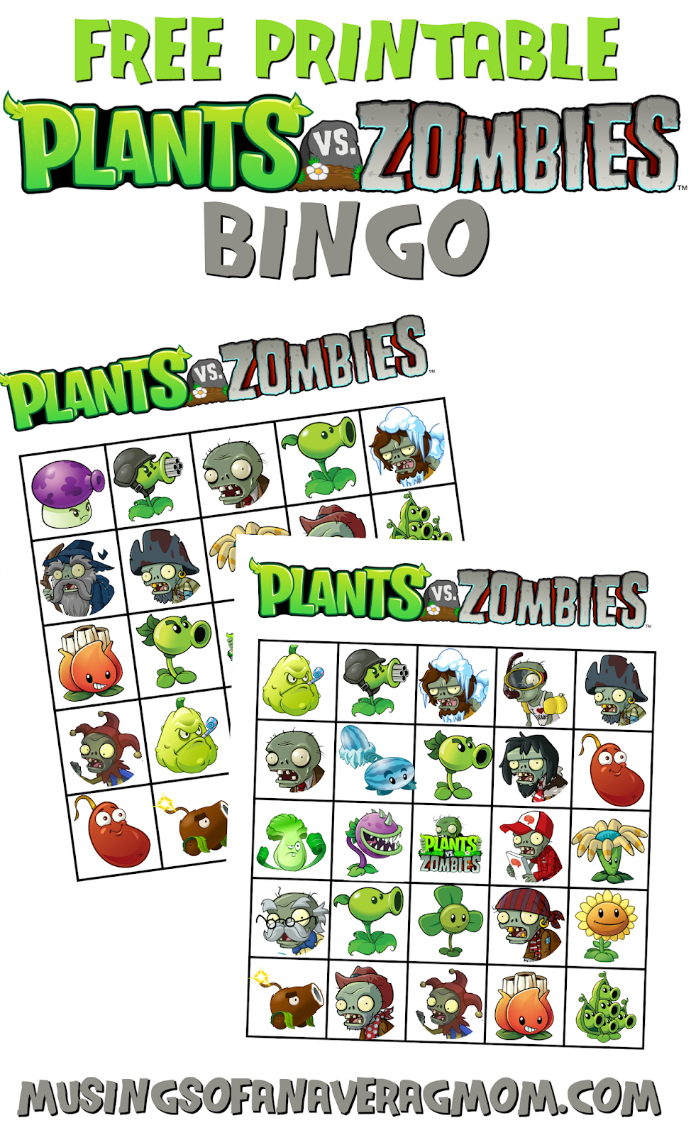 Musings Of An Average Mom: Plants Vs. Zombies Bingo - Plants Vs Zombies Free Printable Invitations