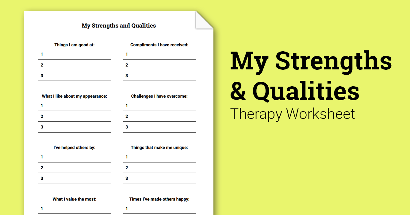 My Strengths And Qualities (Worksheet)   Therapist Aid - Free Printable Therapy Worksheets