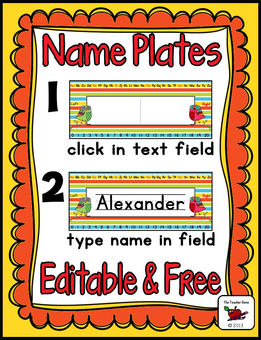 Name Plates (Editable) Freebie | Classroom Organization | Classroom - Free Printable Desk Name Plates For Students