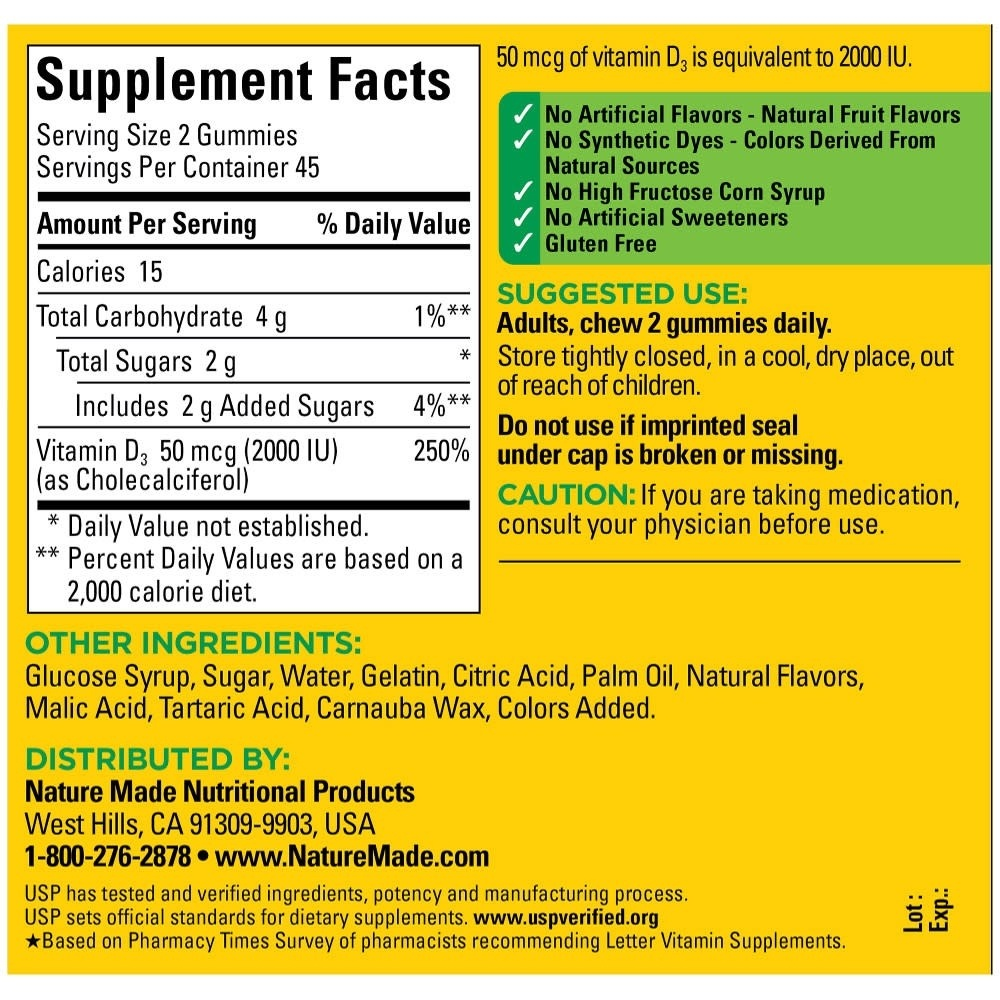 Nature Made Vitamin D3, Adult Gummies, Strawberry, Orange & Lemon - Free Printable Nature Made Vitamin Coupons