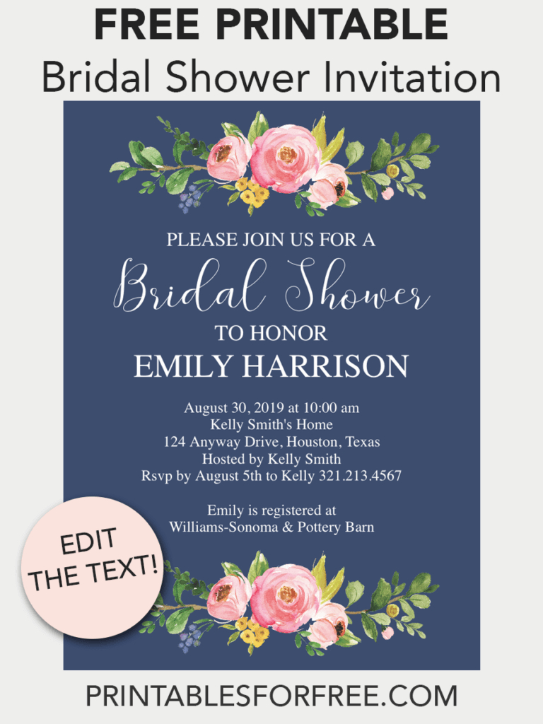 Navy Floral Printable Bridal Shower Invitation | Free Printable - Free Printable Bridal Shower Invitations