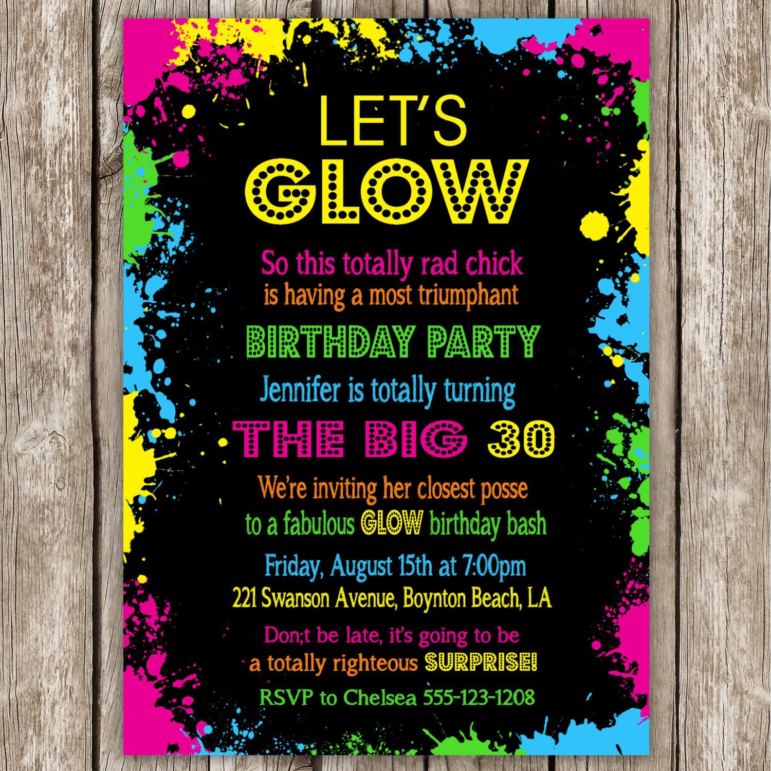 Neon Party Invitation Wording | Neon Party | Neon Party Invitations - Free Printable Glow In The Dark Birthday Party Invitations