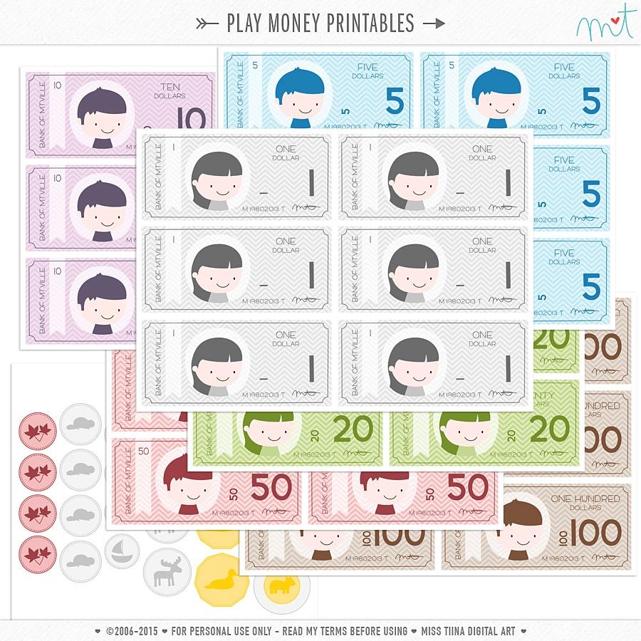 New Vector Saving Up + Free Printable Play Money! | Misstiina - Free Printable Play Money