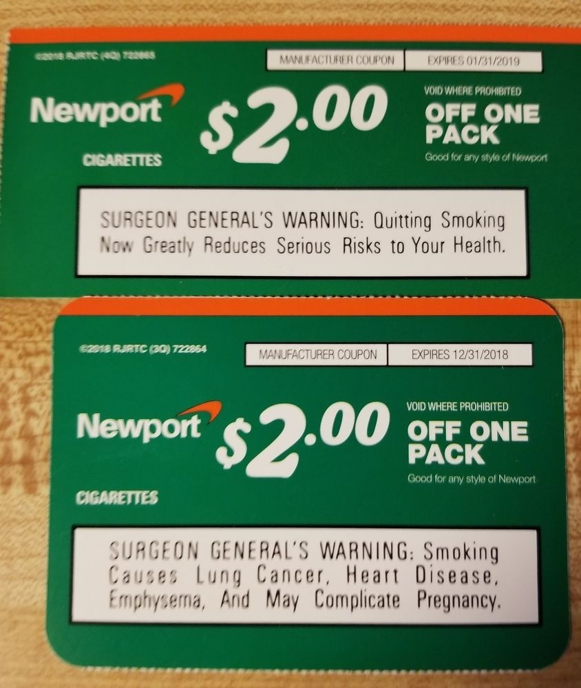 Newport Cigarette Coupons (2) Each $2.00 Off A Pack In 2019 | Places - Free Printable Cigarette Coupons