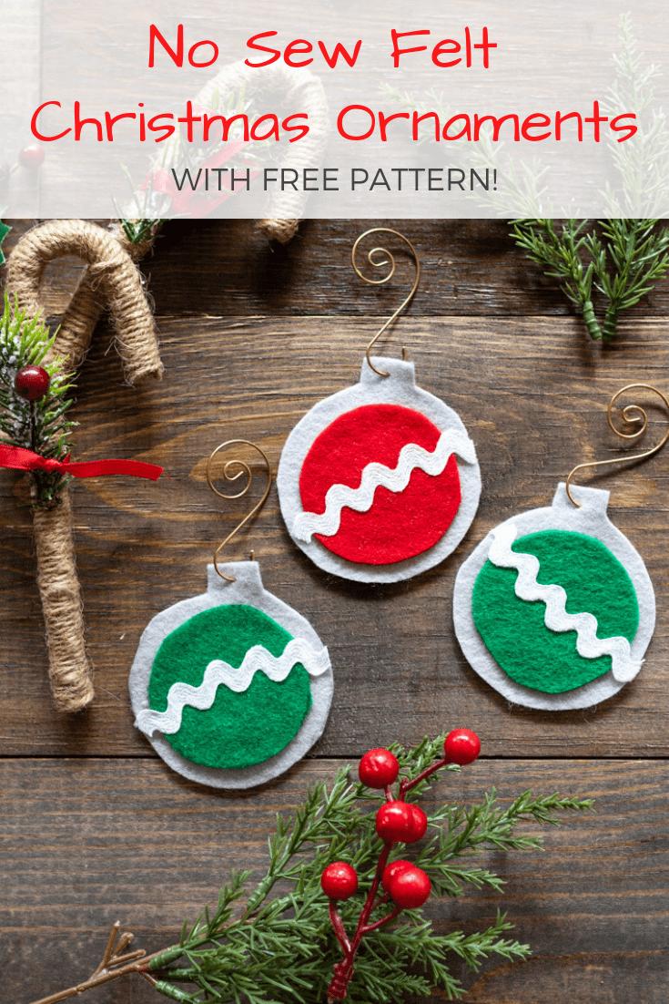 No Sew Easy Felt Christmas Ornaments - The Artisan Life - Free Printable Christmas Ornament Patterns