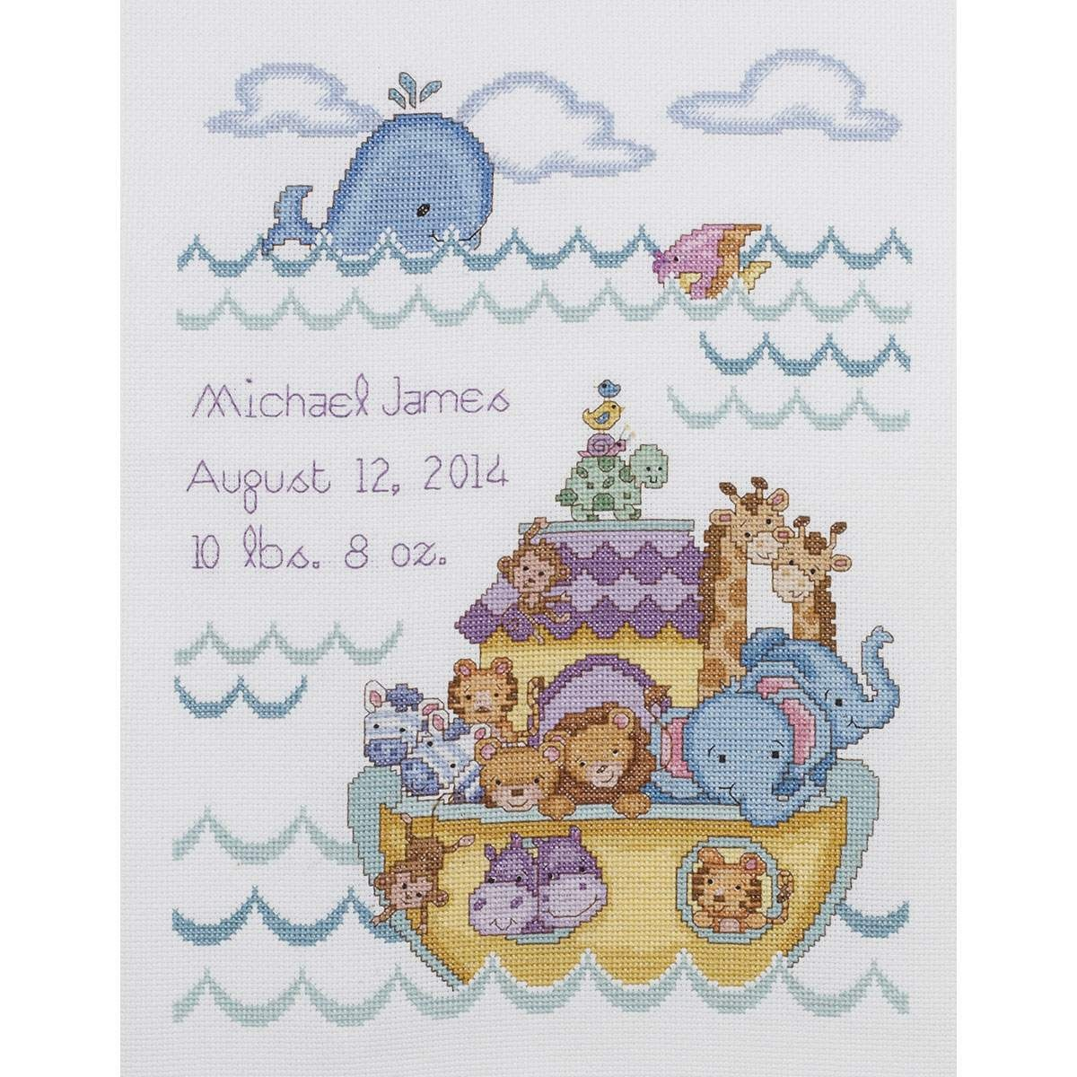 """Noah's Ark Birth Record Counted Cross Stitch Kit-10""""x13"""" 14 Count - Baby Cross Stitch Patterns Free Printable"""