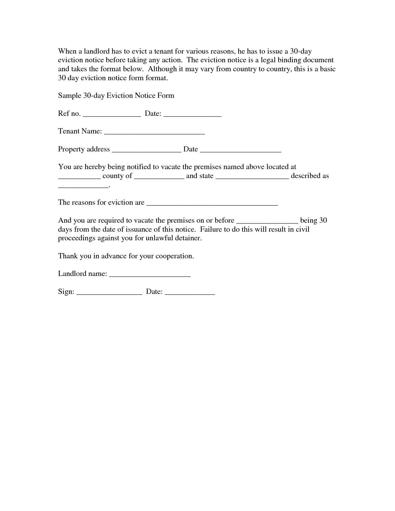 Notice Of Eviction Letter Template - Seeabruzzo - 30 Day Eviction - Free Printable Eviction Notice