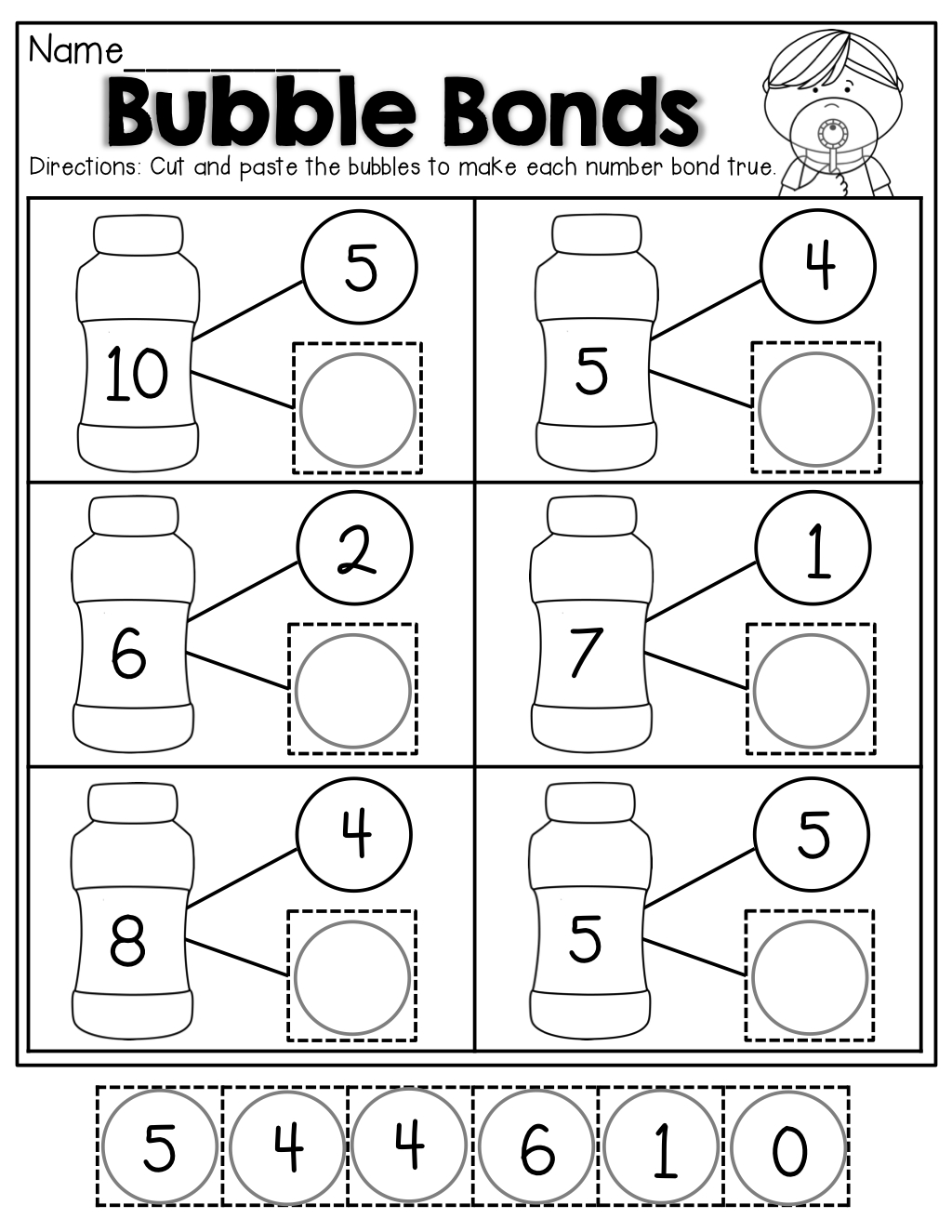 Number Bubble Bonds (Cut And Paste) | Kindergarten Activities | Math - Free Printable Number Bonds Worksheets For Kindergarten