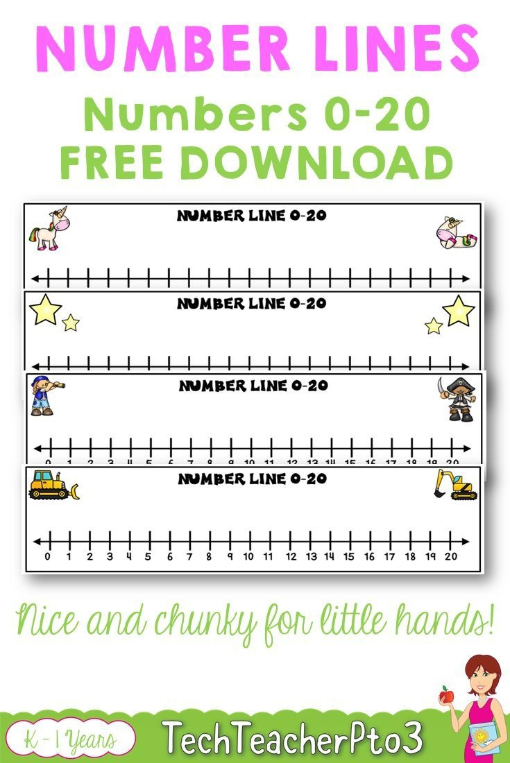 Number Lines 0 To 20 Unicorns Stars Construction Pirates Free - Free Printable Number Line For Kids