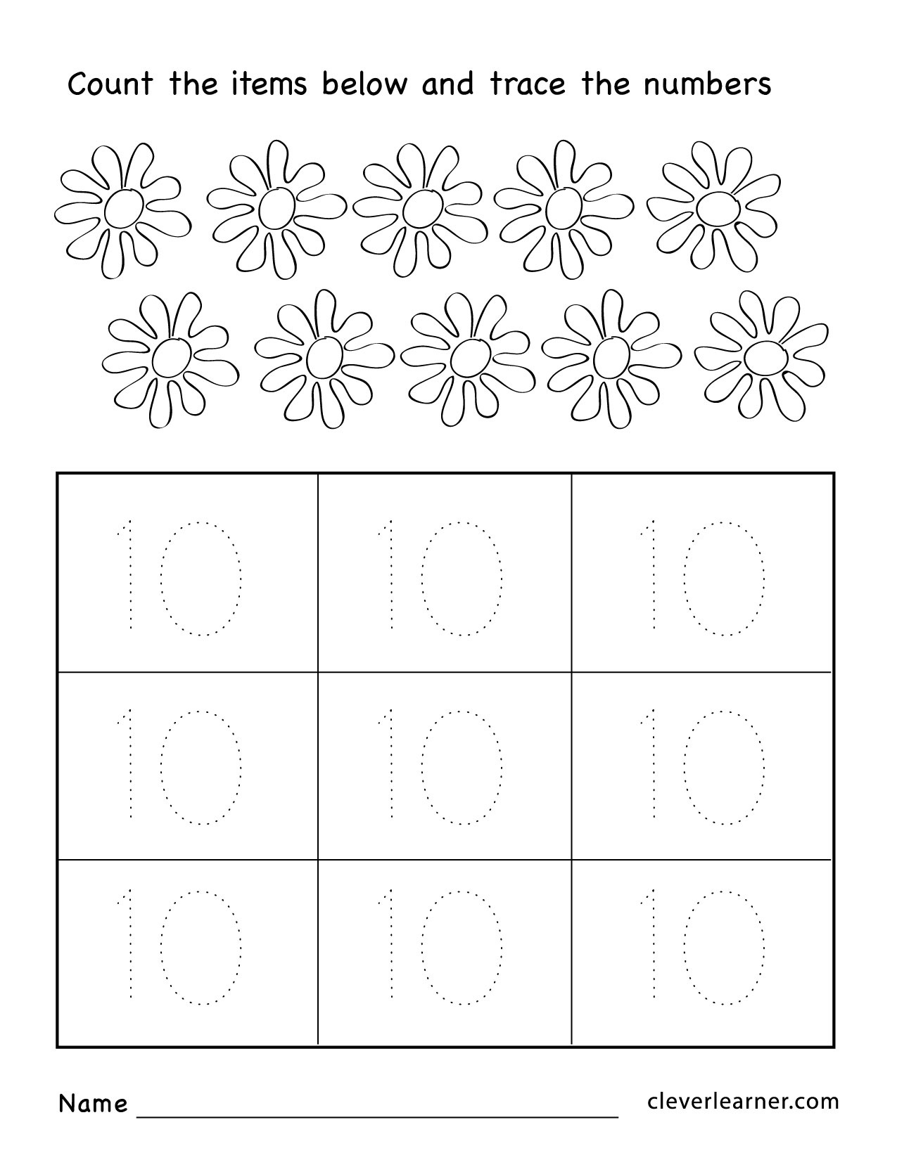 Number Ten Writing, Counting And Identification Printable Worksheets - Free Printable Worksheets For Kids