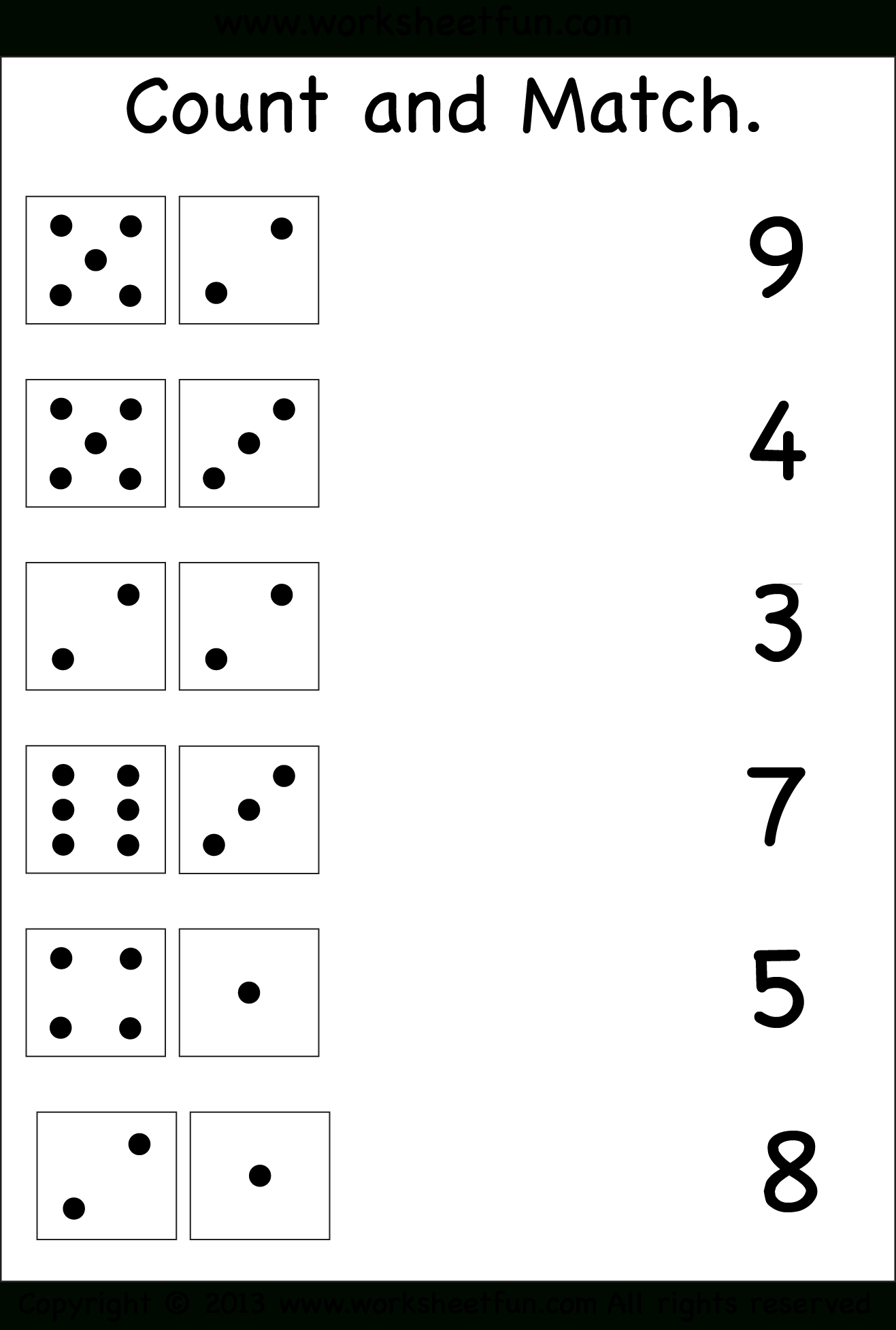 Numbers – Count And Match / Free Printable Worksheets – Worksheetfun - Free Printable Counting Worksheets 1 20