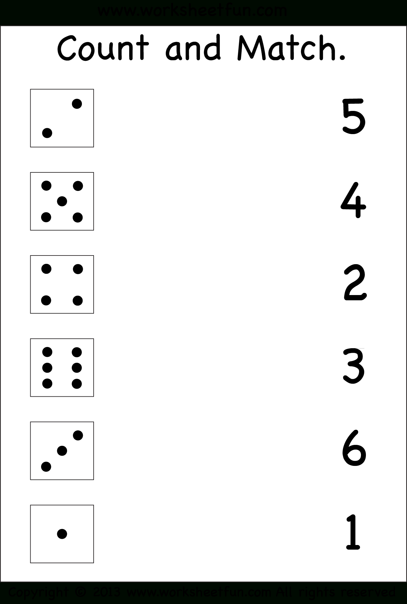 Numbers – Count And Match / Free Printable Worksheets – Worksheetfun - Free Printable Worksheets For Kindergarten