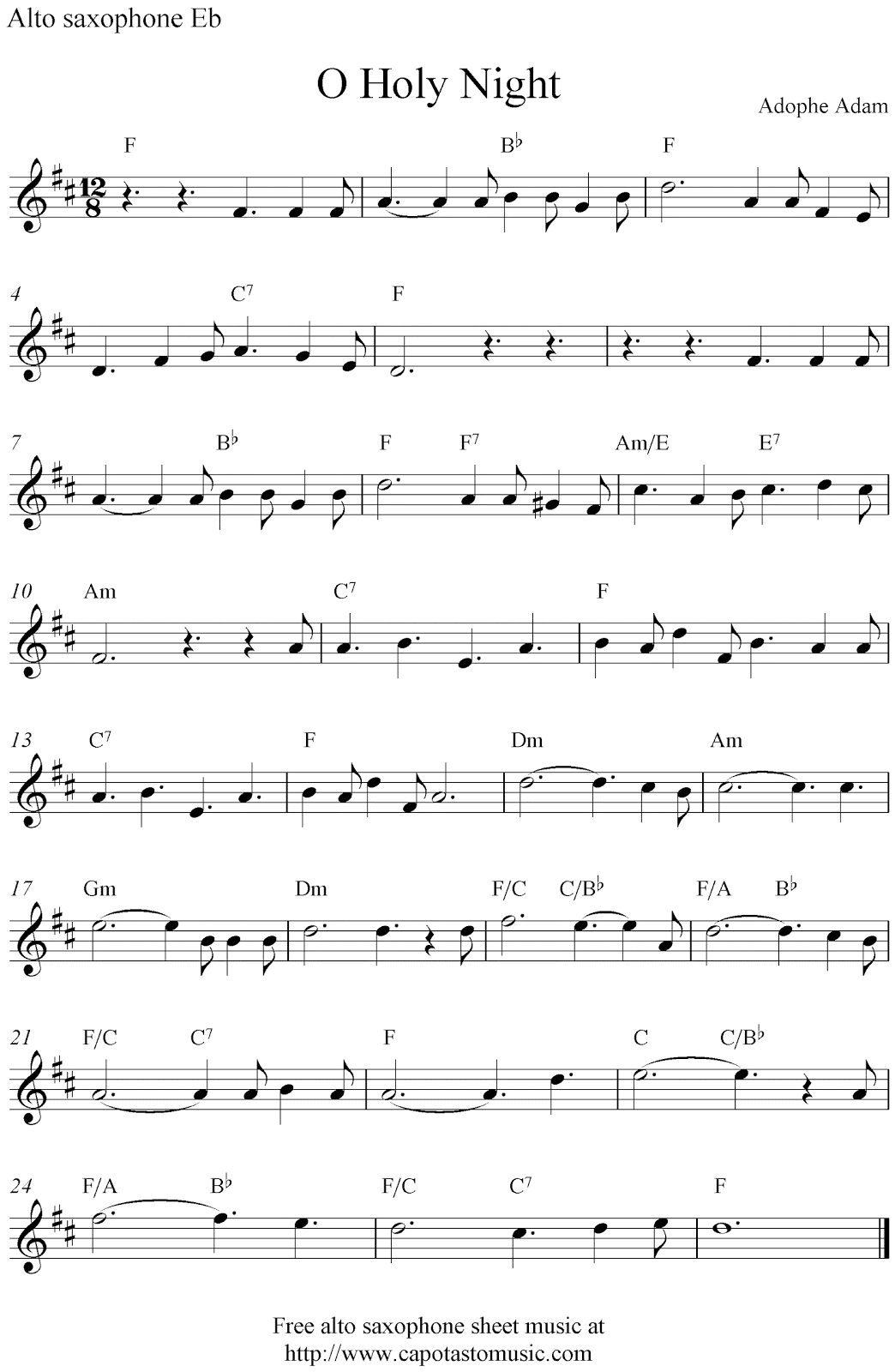 O Holy Night, Free Christmas Alto Saxophone Sheet Music Notes - Free Printable Christmas Sheet Music For Alto Saxophone