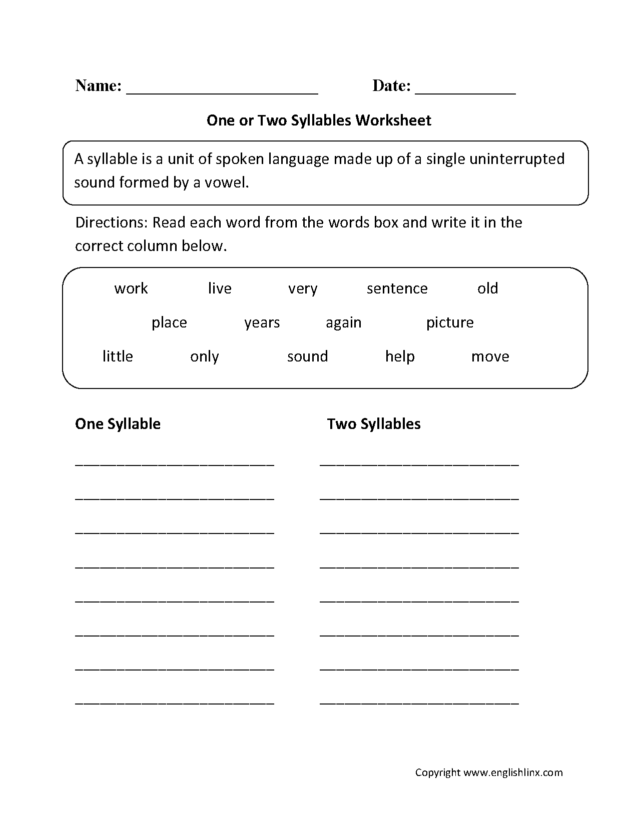 One Or Two Syllables Worksheet   1   Syllable, Speech Therapy - Free Printable Open And Closed Syllable Worksheets