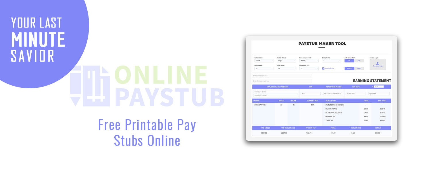 Online Pay Stub – Your Last Minute Savior - Online Paystub - Free Printable Pay Stubs