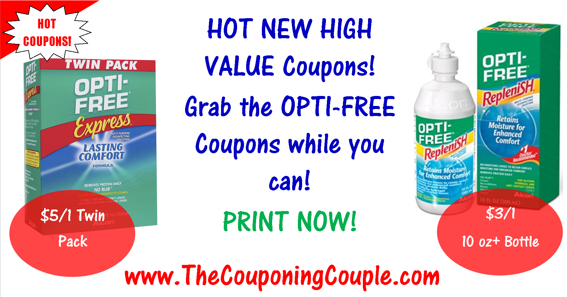 Opti-Free Printable Coupons + 94 More Personal Care Coupons! - Free High Value Printable Coupons