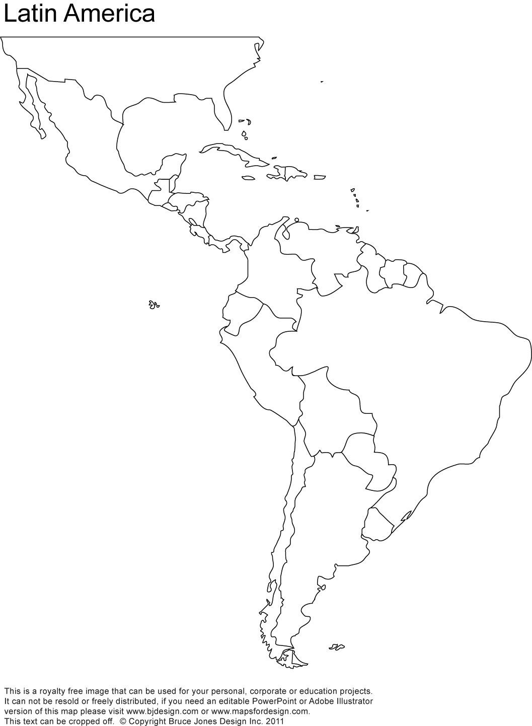 Outline Map Of South America 5 - World Wide Maps - Free Printable Outline Map Of North America