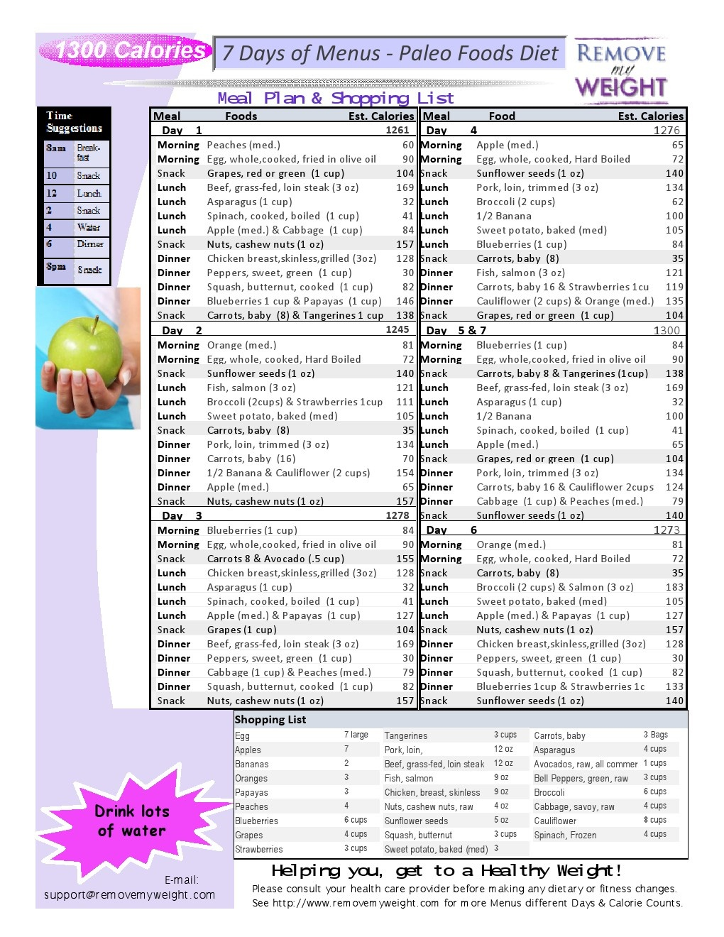 Paleo Diet 7 Day 1300 Calories A Day Meal Plan To Lose Weight - Menu - Free Printable Meal Plans For Weight Loss