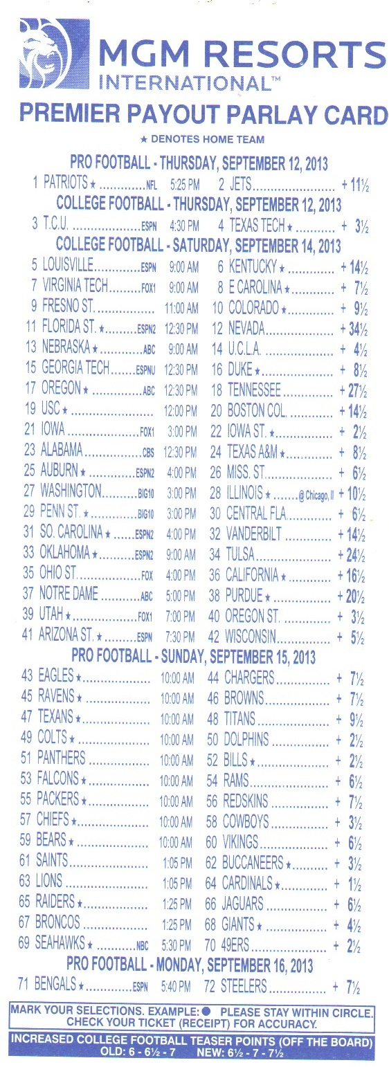 Parlay Bets In The Nfl - Free Printable Football Parlay Cards