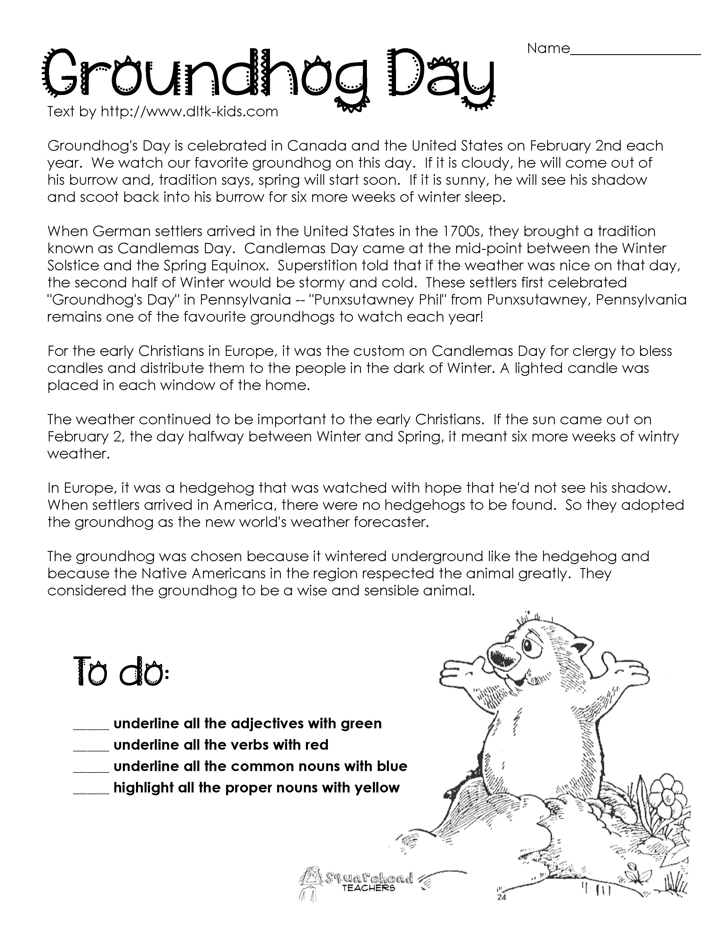 Passage   Teaching   Groundhog Day Activities, Groundhog Day, Parts - Free Printable Groundhog Day Reading Comprehension Worksheets