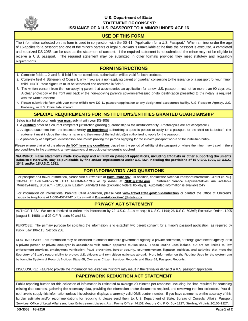Passport Parental Consent – Form Ds-3053   Eforms – Free Fillable Forms - Free Printable Ds 11