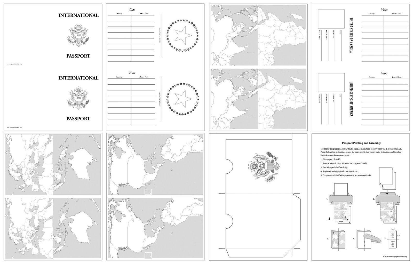 Passport Template For Kids |  Printable Passport Design Paper For - Free Printable Passport Template