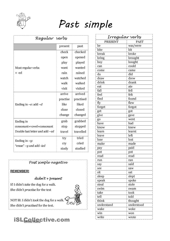 Past Simple: Regular And Irregular Verbs | Esl Worksheets Of The Day - Free Printable Past Tense Verbs Worksheets