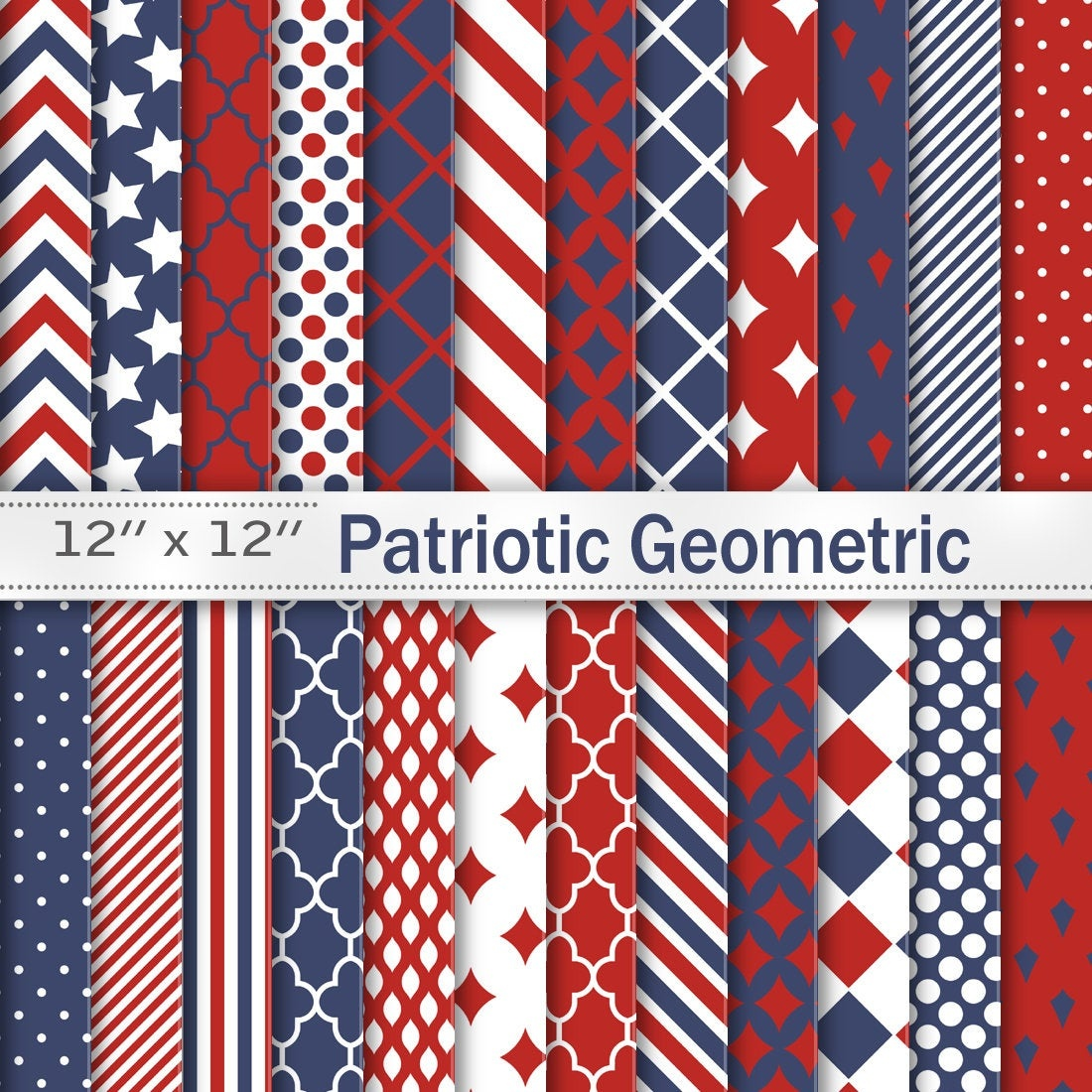 Patriotic 4Th Of July Digital Scrapbook Papers Red Navy | Etsy - Free Printable Patriotic Scrapbook Paper