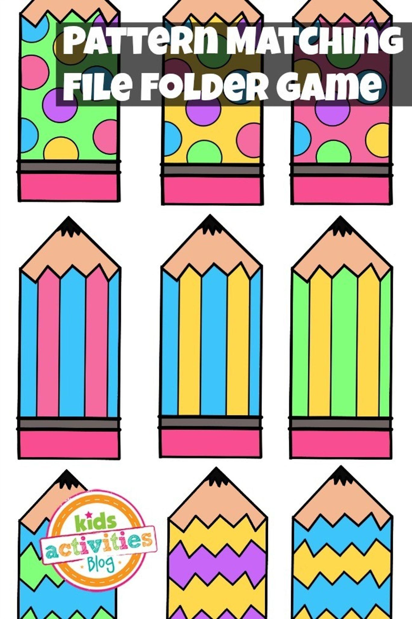 Pattern Matching Free Printable File Folder Game For Preschoolers - File Folder Games For Toddlers Free Printable