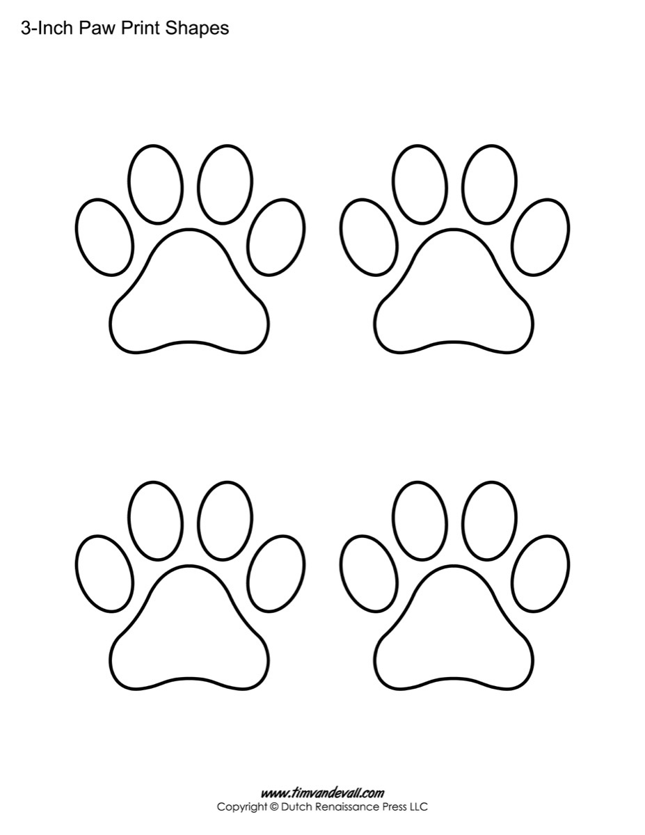 Paw Print Template Shapes | Blank Printable Shapes - Free Printable Shapes Templates
