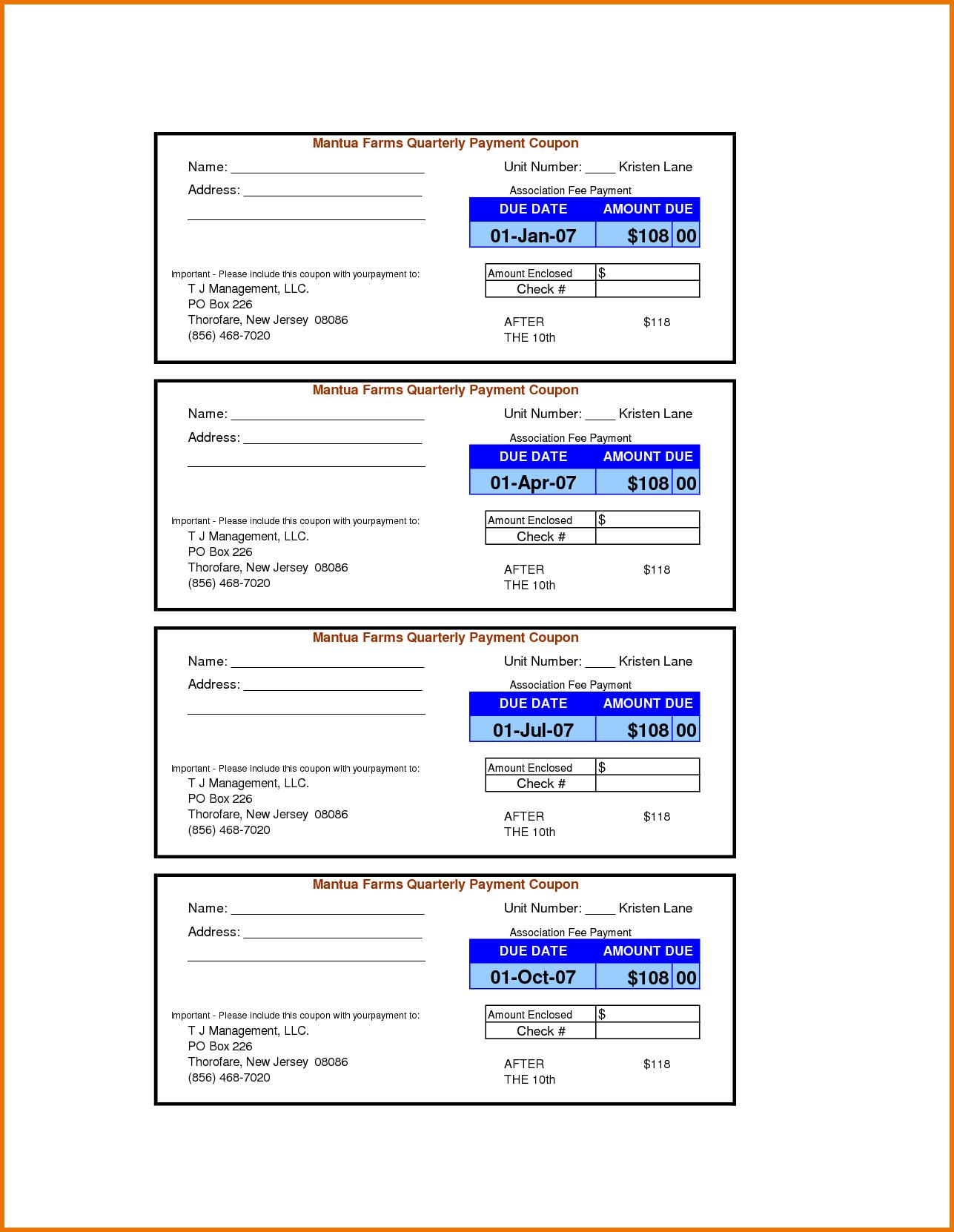 Payment Coupon Book Template - Tutlin.psstech.co - Free Printable Coupon Templates