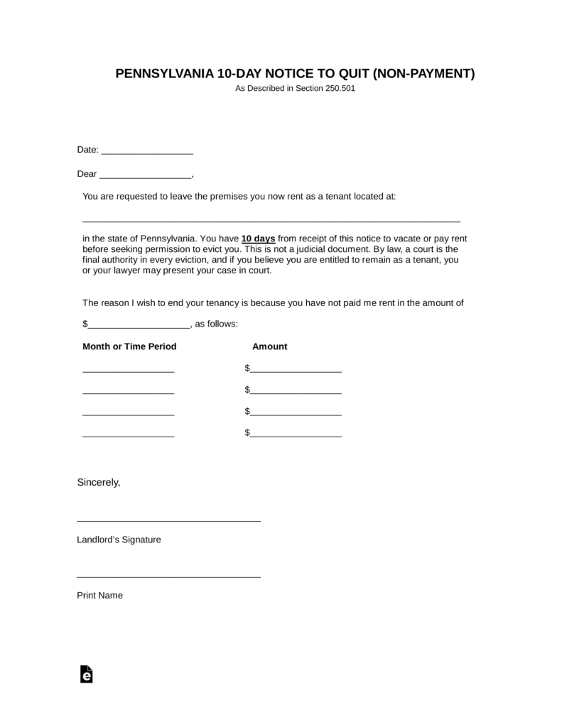 Pennsylvania 10 Day Notice To Quit Form | Non-Payment | Eforms - Free Printable Eviction Notice Pa