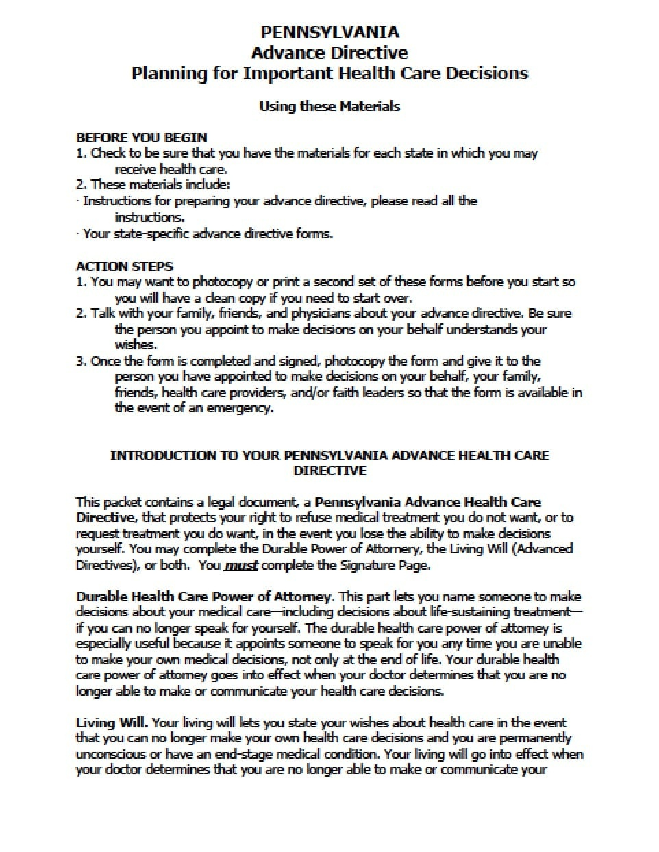 Pennsylvania Medical Power Of Attorney Form - Power Of Attorney - Free Printable Power Of Attorney Form Florida