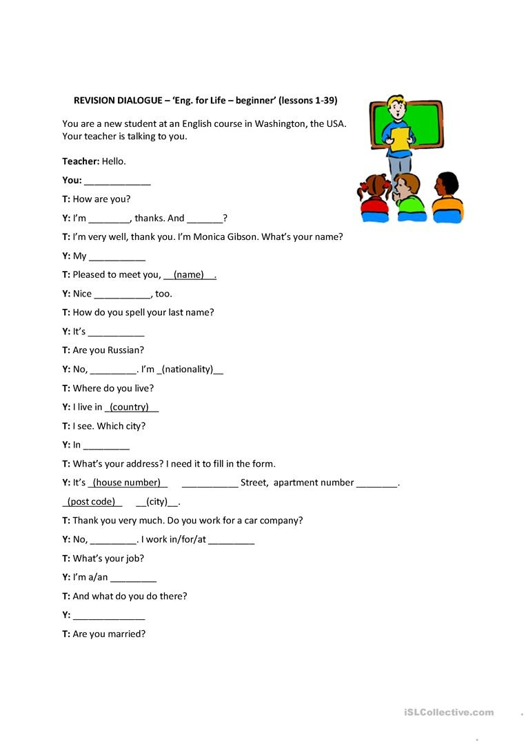 Personal Information Dialog - English For Life - Beginner (Revision - Free Printable English Lessons For Beginners