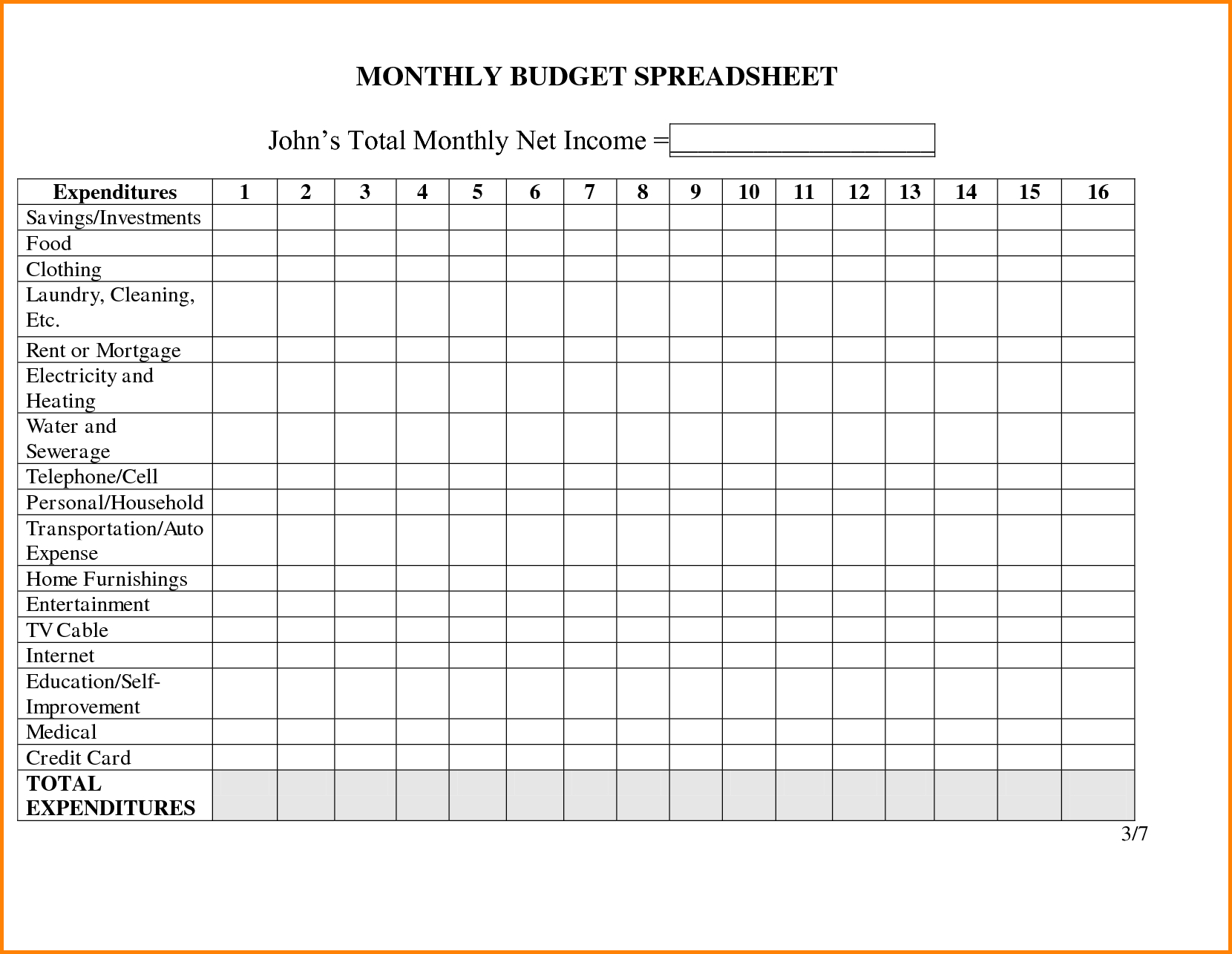 Personal Monthly Budget Spreadsheet Family Template Free Worksheet - Free Printable Monthly Expenses Worksheet