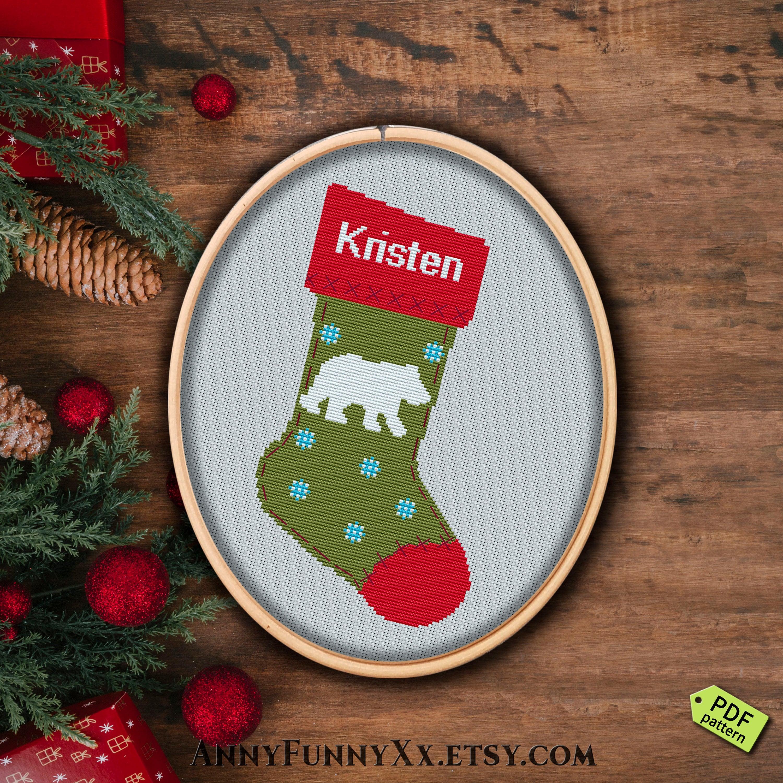 Personalized Cross Stitch Pattern Christmas Stocking Cross | Etsy - Free Printable Cross Stitch Christmas Stocking Patterns