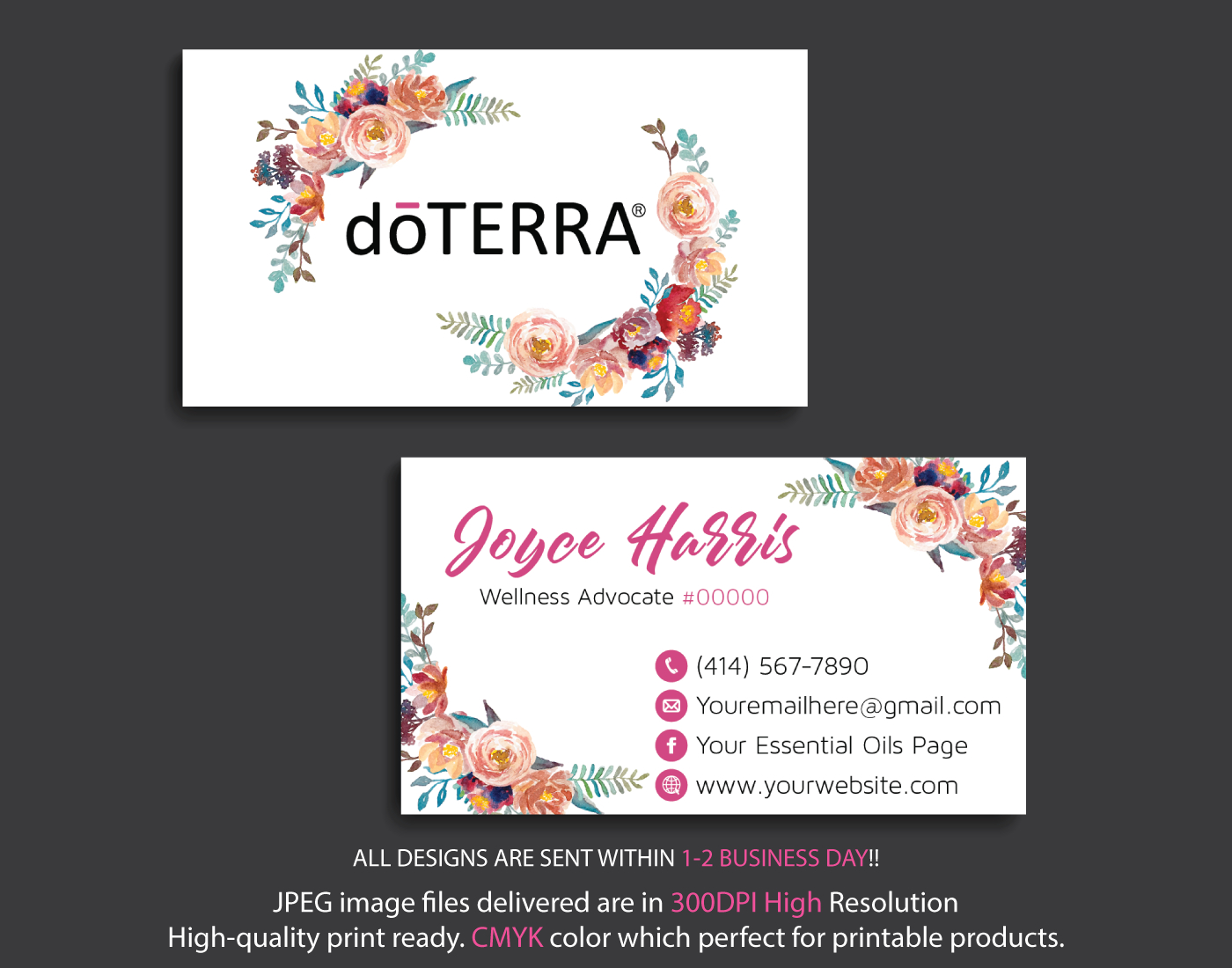Personalized Doterra Business Card, Doterra Business Cards, Essential Oil  Business Card, Digital File Card, Dt15 - Free Printable Doterra Sample Cards