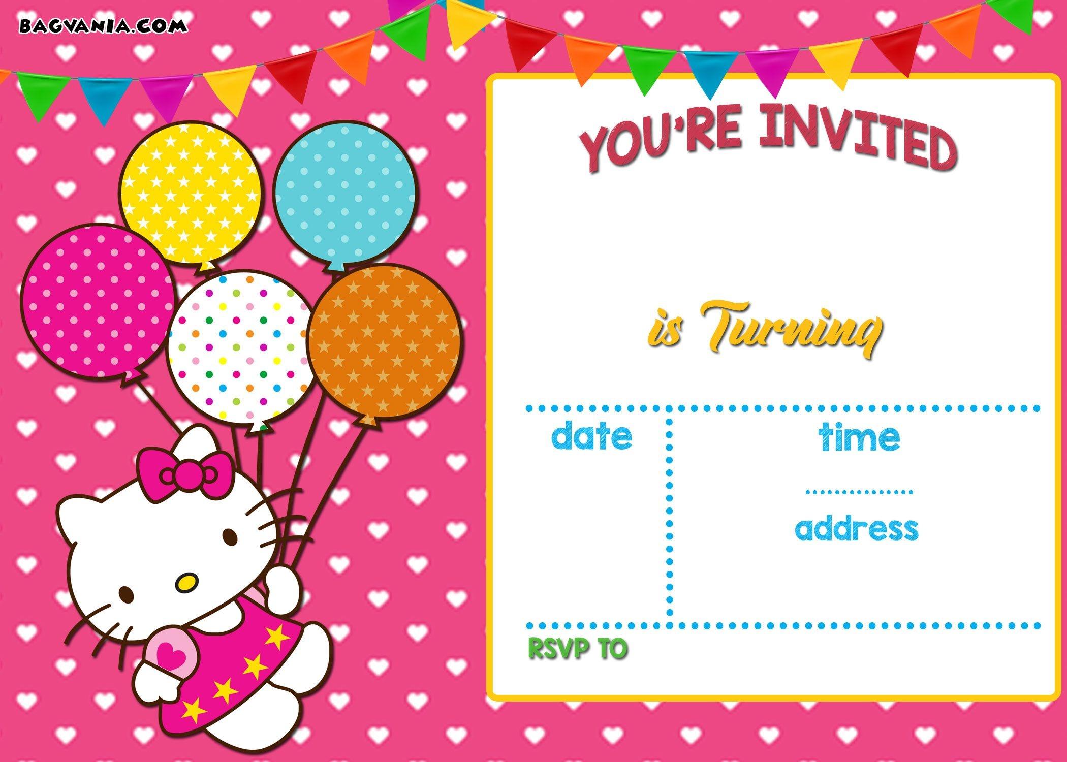 Personalized Hello Kitty Birthday Invitations - | Ayeza's 7Th - Hello Kitty Free Printable Invitations For Birthday