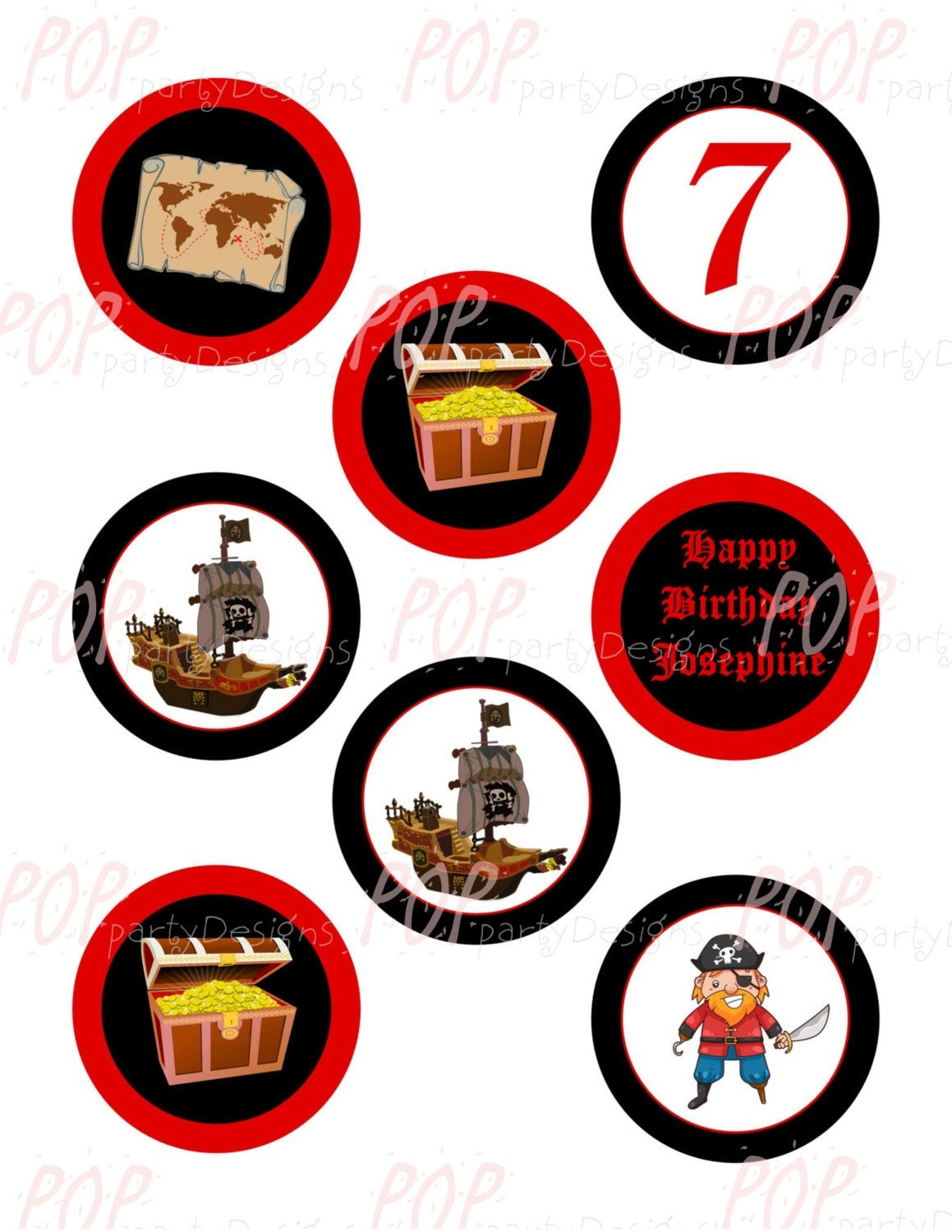 Personalized Pirate Birthday Cupcake Toppers Printable | Etsy - Free Printable Pirate Cupcake Toppers