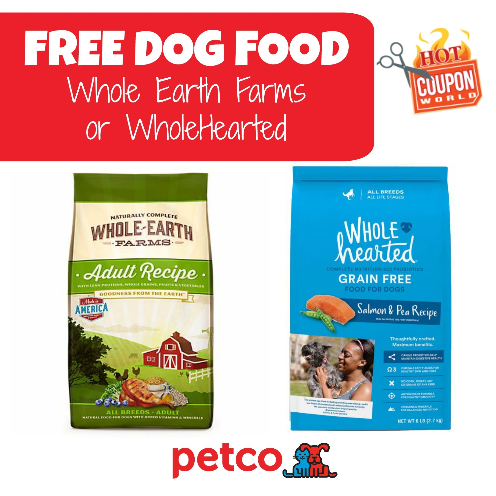 Petco: Free Wholehearted Or Whole Earth Farms Dog Food Coupon Deal - Free Printable Dog Food Coupons
