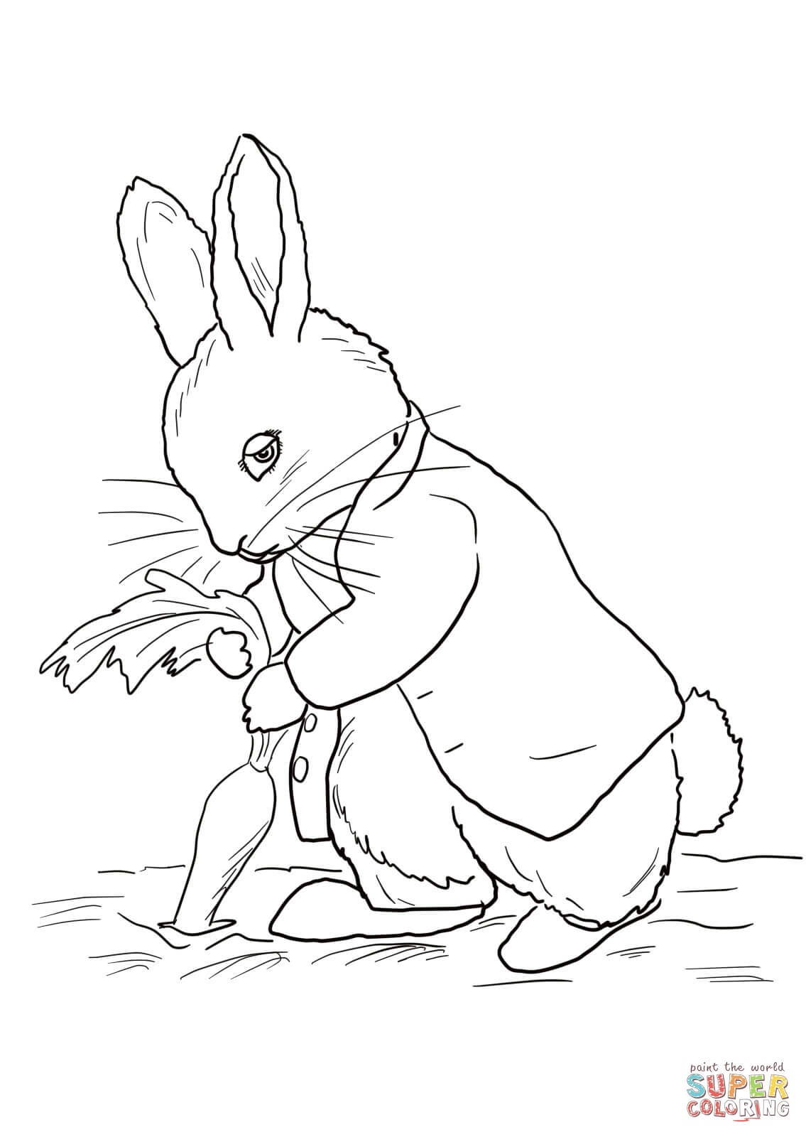 Peter Rabbit Stealing Carrots Coloring Page | Free Printable - Free Printable Peter Rabbit Coloring Pages