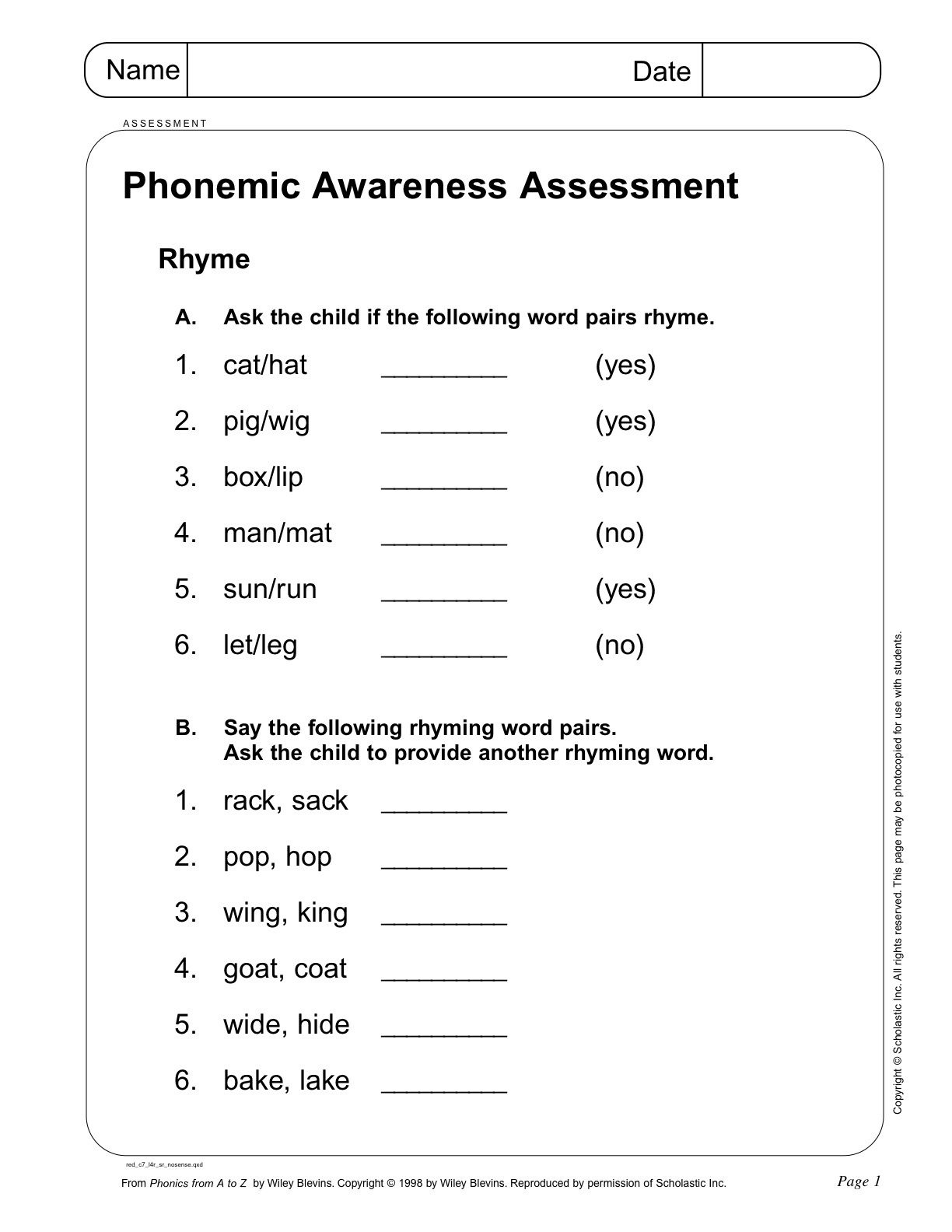 Phonemic Awareness Assessment Page 1 From Scholastic- Teacher - Free Printable Diagnostic Reading Assessments