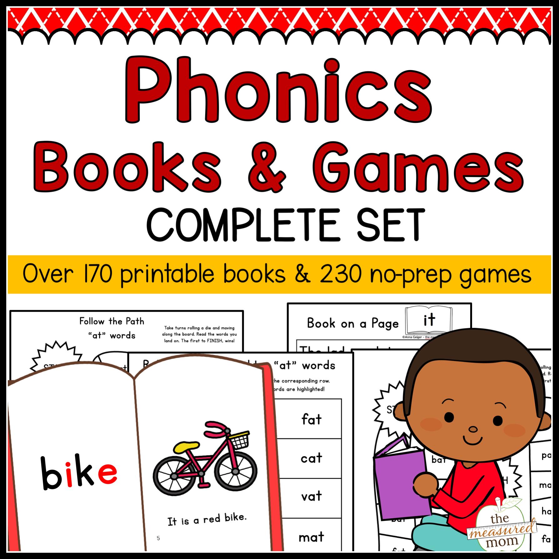 Phonics Books & Games - Complete Set - The Measured Mom - Free Printable Phonics Books For Kindergarten