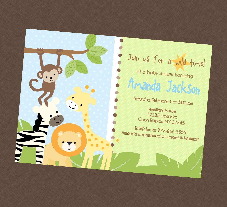 Photo : Baby Shower Invitations Kinkos Jungle Image - Free Printable Jungle Safari Baby Shower Invitations