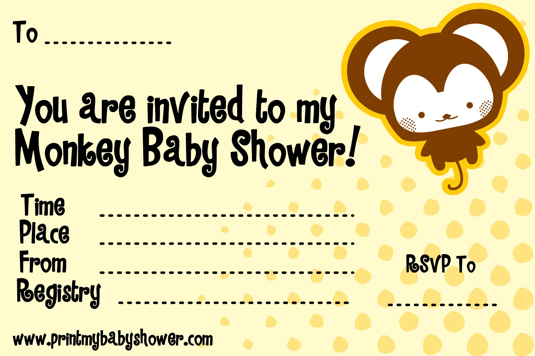 Photo : Free Baby Monkey Baby Shower Image - Free Printable Monkey Girl Baby Shower Invitations