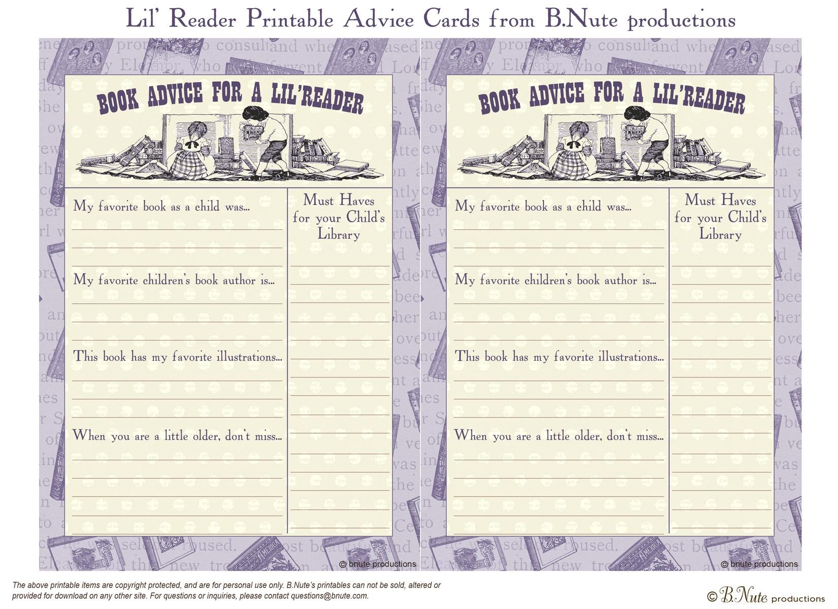 Photo : Free Printable Baby Shower Bingo Image - Free Mommy Advice Cards Printable