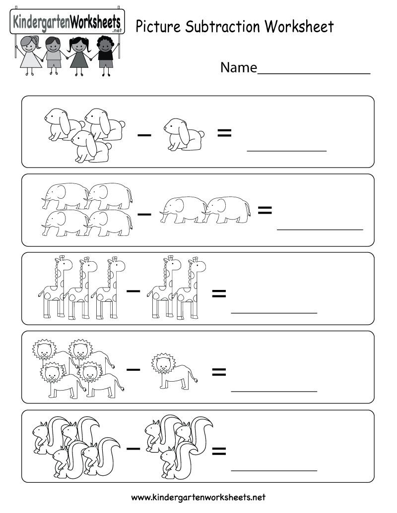 Picture Subtraction Worksheet - Free Kindergarten Math Worksheet For - Free Printable Kindergarten Addition And Subtraction Worksheets