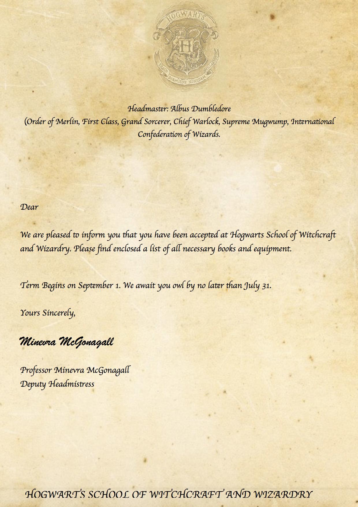 Pincaitlin Moore On Harry Potter ⚡   Harry Potter Printables - Hogwarts Acceptance Letter Template Free Printable